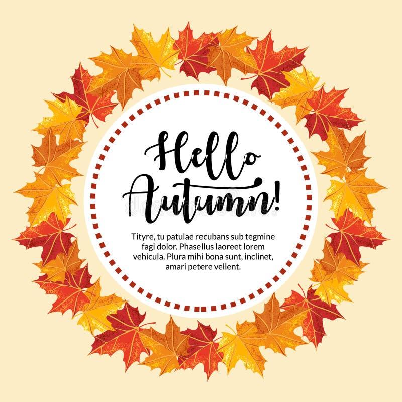 Bonjour bannière d'automne avec le style d'ombre de grain pour la saison d'automne illustration libre de droits