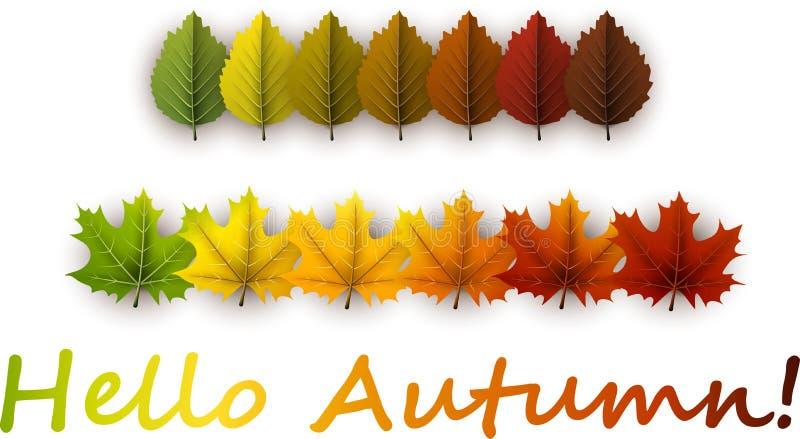Bonjour bannière d'automne avec les feuilles colorées illustration de vecteur