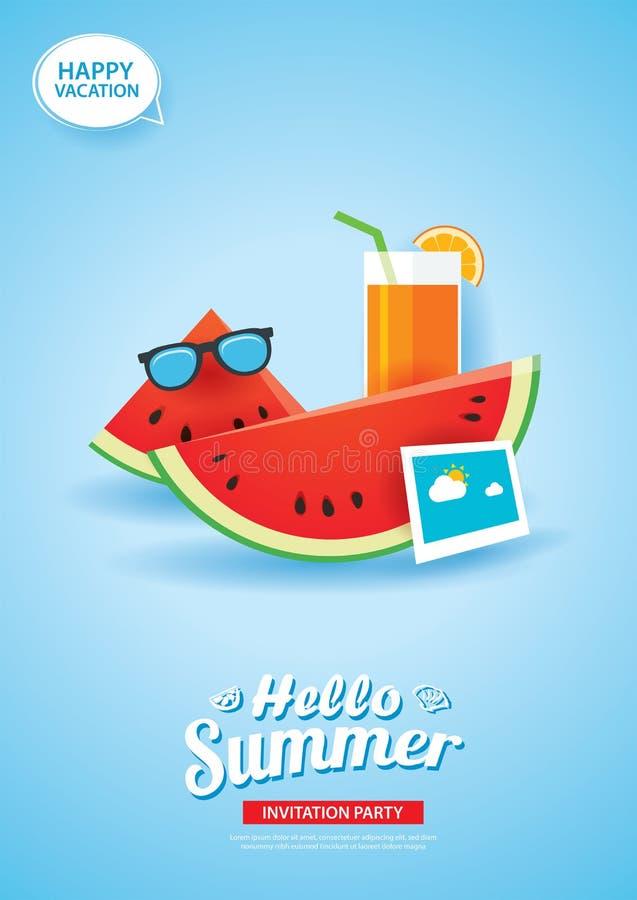 Bonjour bannière de carte d'été avec le papier de pastèque et de jus d'orange illustration de vecteur