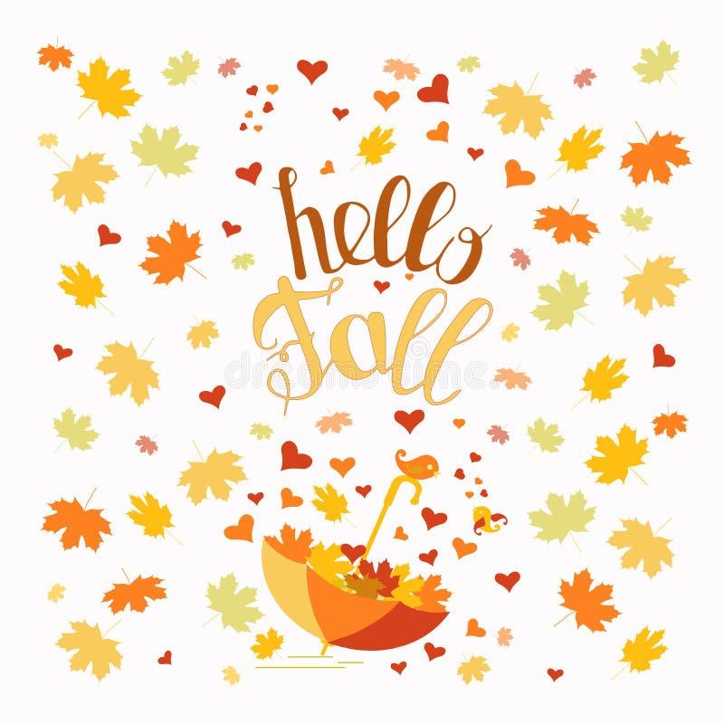 Bonjour bannière de typographie d'automne Feuilles colorées d'érable, élément de inscription tiré par la main de conception d'aut illustration libre de droits
