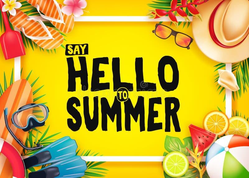 Bonjour bannière réaliste de vecteur de vue supérieure d'été à l'arrière-plan jaune avec le cadre et aux éléments tropicaux comme illustration stock