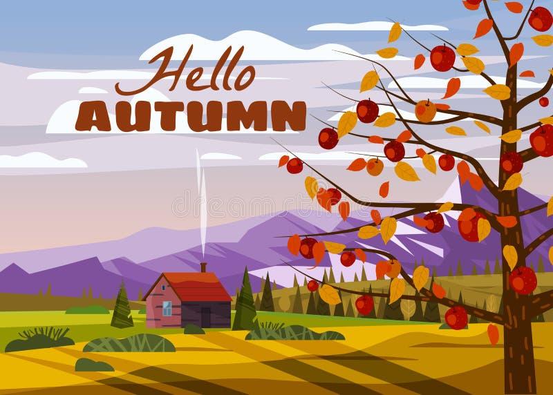 Bonjour Campagne d'automne paysage rural paysage pommier paysagère saison de récolte de fruits ferme maison de ferme d'automne p illustration stock