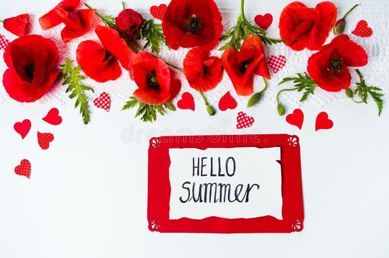 Bonjour carte d'été avec des fleurs de pavot photo stock