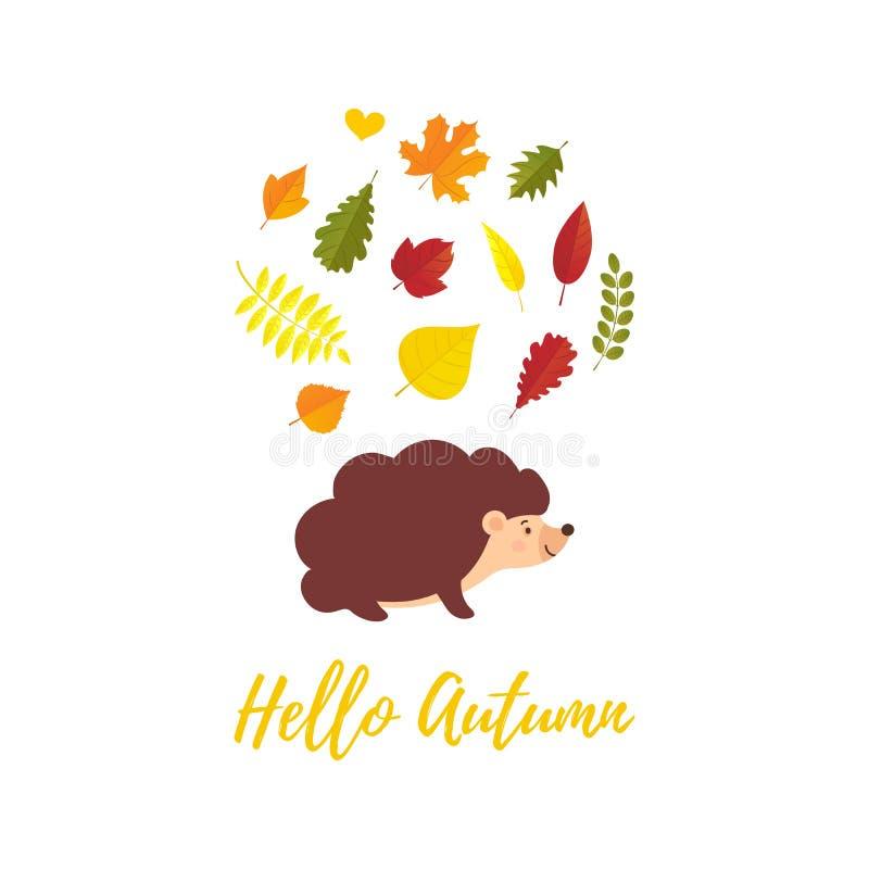 Bonjour carte de voeux d'automne avec les feuilles d'automne en baisse et le style plat de hérisson de bande dessinée Automne de  illustration libre de droits