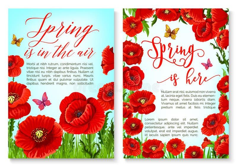 Bonjour carte de voeux de ressort avec le cadre de fleur illustration libre de droits