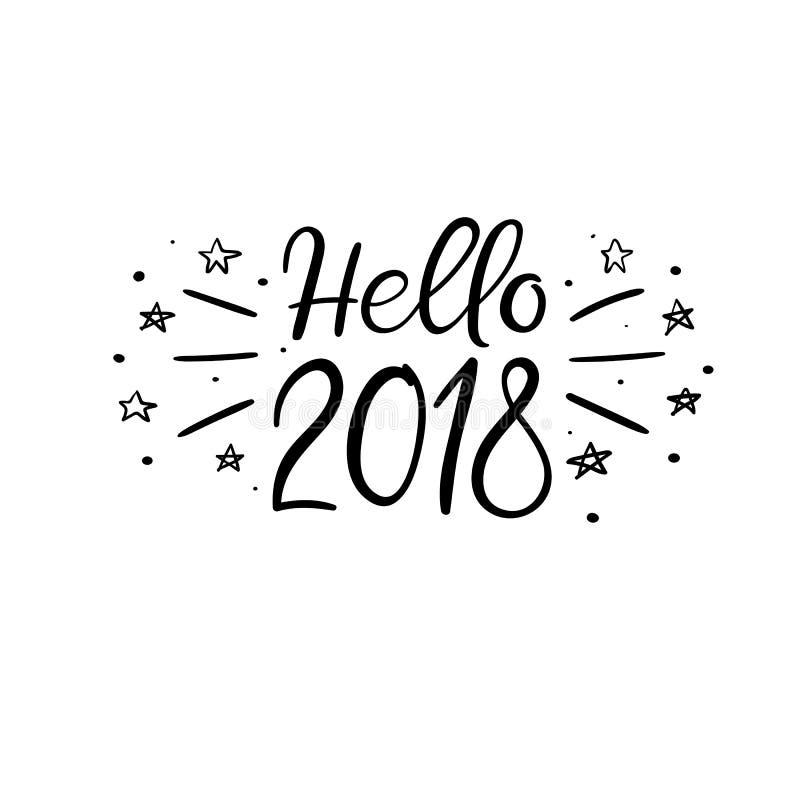 Bonjour carte de voeux de lettrage de 2018 mains Illistration de vecteur Calligraphie moderne illustration stock