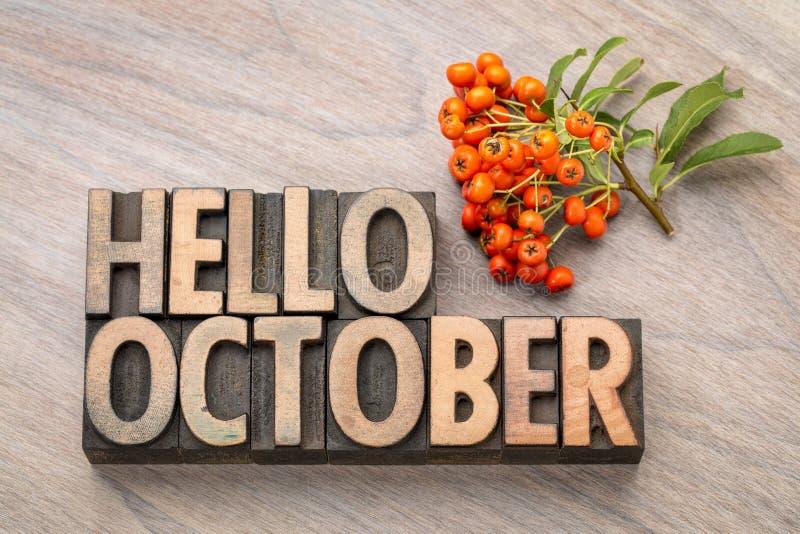 Bonjour carte de voeux de mot d'octobre image libre de droits