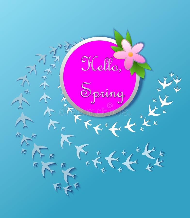 Bonjour carte de voeux de ressort avec les fleurs tirées par la main colorées d'isolement sur le fond illustration de vecteur