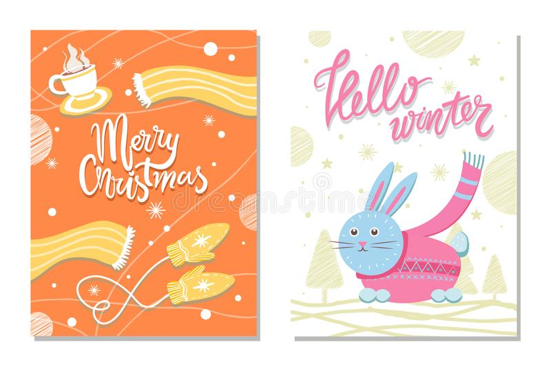 Bonjour carte postale d'hiver avec des mitaines d'écharpe de lapin illustration stock