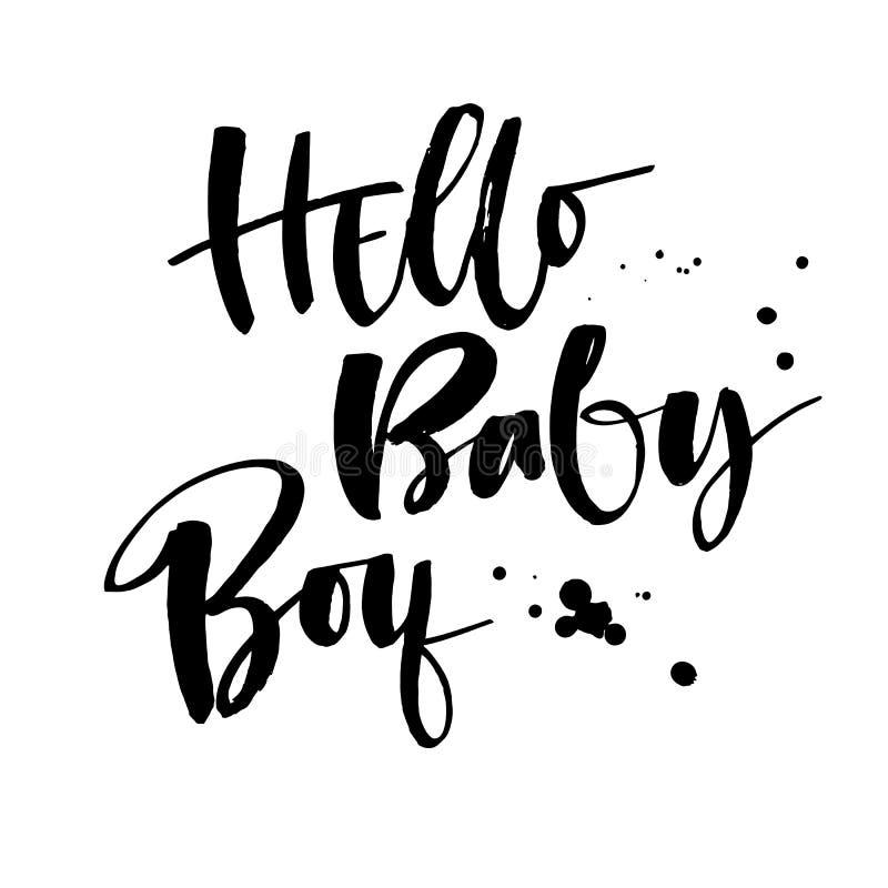 Bonjour citation de bébé garçon Expression naïve moderne de calligraphie de brosse de style de fête de naissance illustration de vecteur