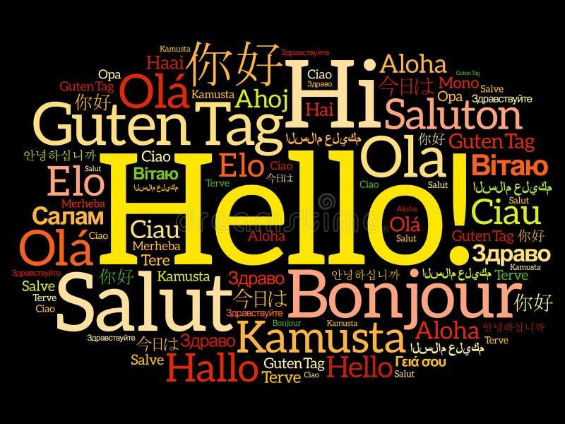 Bonjour collage de nuage de mot dans différentes langues illustration libre de droits