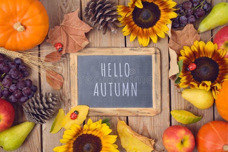 Bonjour concept d'automne avec le tableau, le potiron, les pommes et les tournesols sur la table en bois Fond de Thanksgiving Vue photos stock