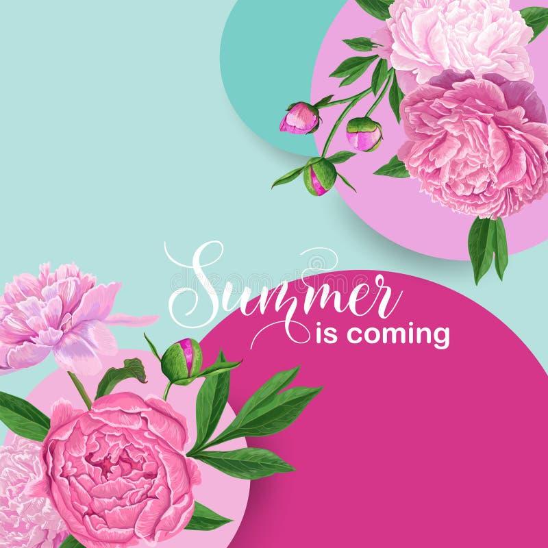 Bonjour conception florale d'été avec les fleurs roses de pivoine Fond botanique pour l'affiche, bannière, épousant l'invitation illustration de vecteur