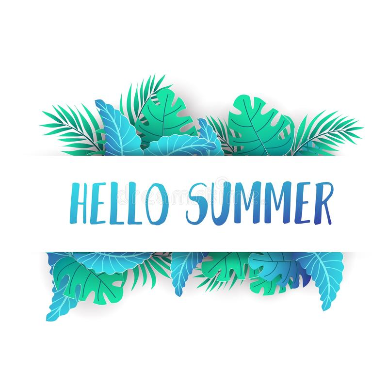 Bonjour conception tropicale d'été avec les feuilles de papier d'isolement sur le fond blanc Calibre de conception de déplacement illustration libre de droits