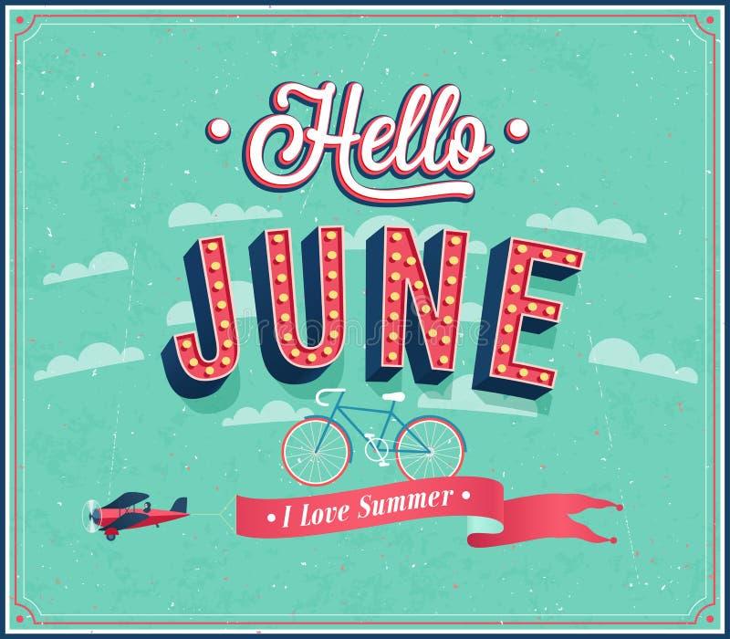 Bonjour conception typographique de juin. illustration stock