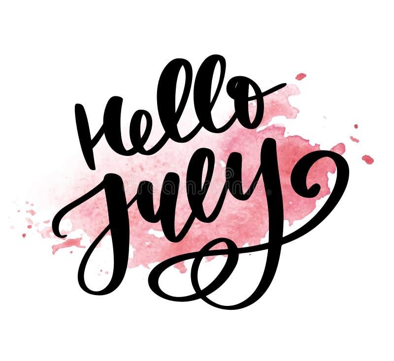 Bonjour copie de lettrage de juillet Illustration minimalistic d'?t? Calligraphie d'isolement sur le fond blanc illustration libre de droits