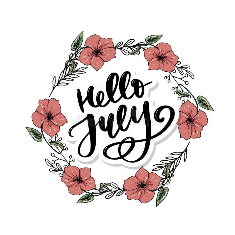 Bonjour copie de lettrage de juillet Illustration minimalistic d'?t? Calligraphie d'isolement sur le fond blanc illustration de vecteur