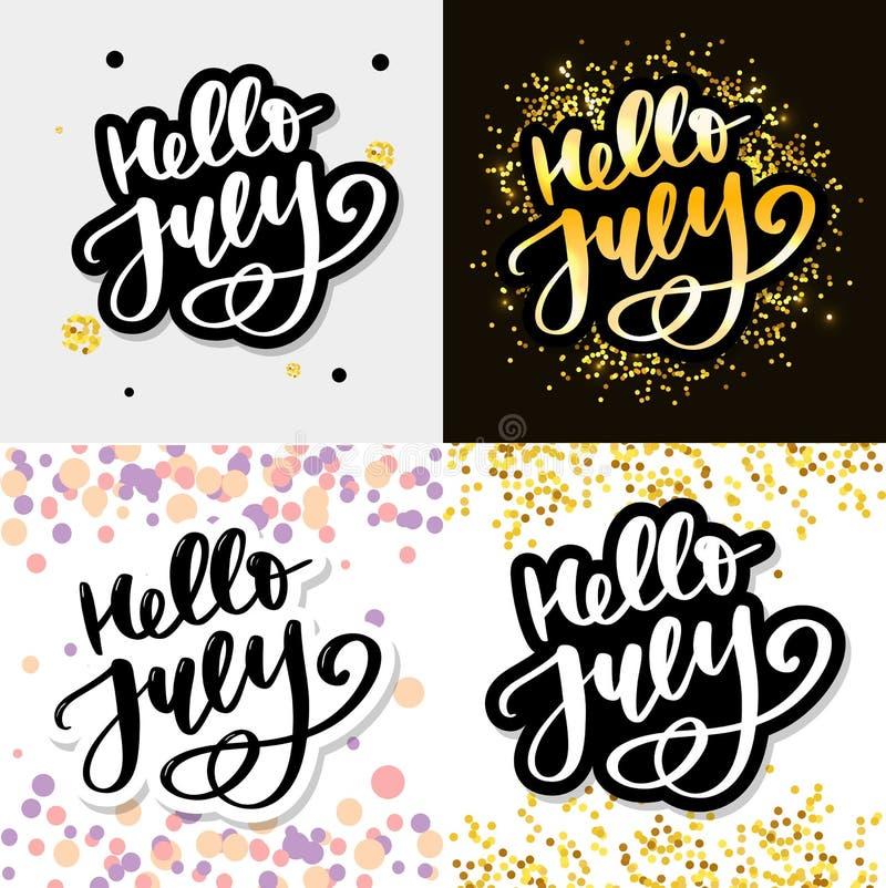 Bonjour copie de lettrage de juillet Illustration minimalistic d'?t? Calligraphie d'isolement sur le fond blanc illustration stock