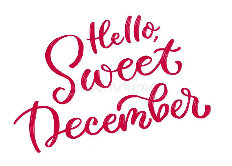 Bonjour, décembre doux Inscription calligraphique en rouge illustration libre de droits
