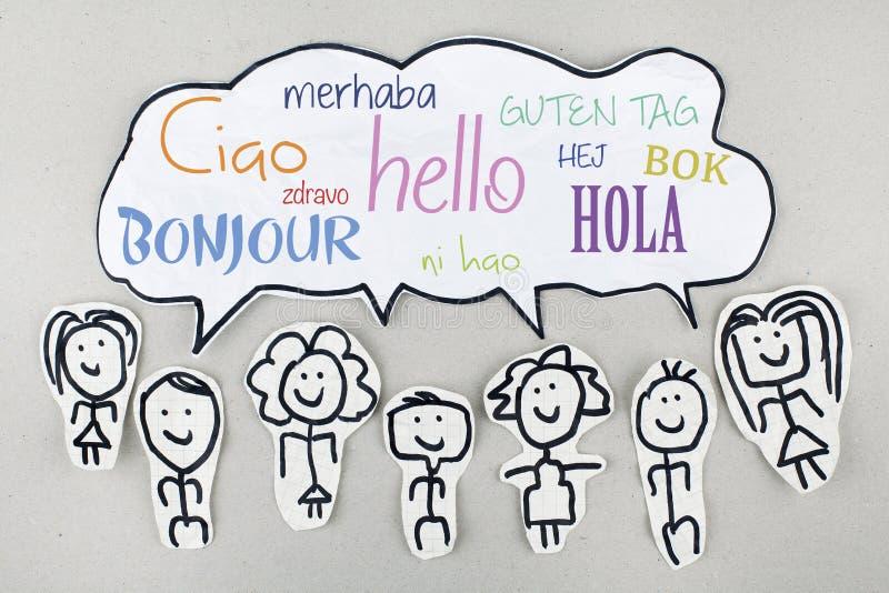 Bonjour dans différentes langues étrangères globales internationales Bonjour Ciao Hola illustration stock