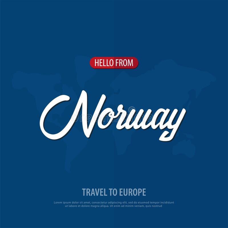 Bonjour de Norvège Voyage vers l'Europe Carte de voeux touristique Illustration de vecteur illustration de vecteur