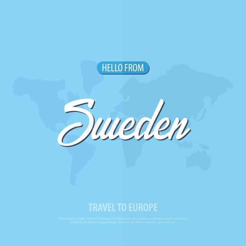 Bonjour de Suède Voyage vers l'Europe Carte de voeux touristique Illustration de vecteur illustration de vecteur