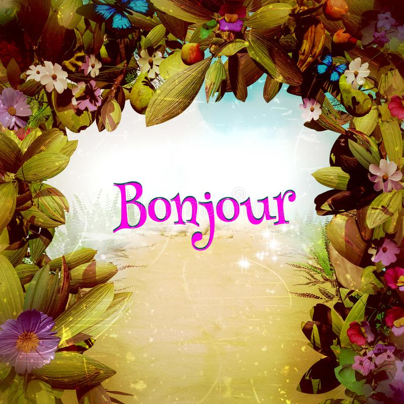 Bonjour em uma porta mágica da flor da fantasia ilustração royalty free