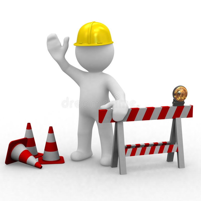 Bonjour, en construction illustration stock