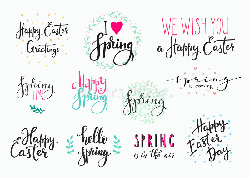 Bonjour ensemble heureux de typographie de lettrage de Pâques de ressort illustration stock