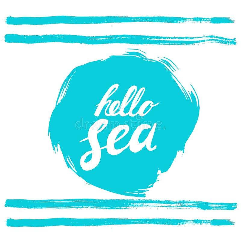 Bonjour expression de mer Remettez le texte écrit sur rugueux bleu stylisé bordé en rond calligraphie Mer d'encre d'inscription b illustration libre de droits