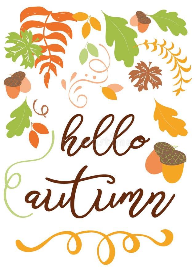 Bonjour feuille tirée par la main orange de chute d'inscription écrite par main d'automne illustration libre de droits
