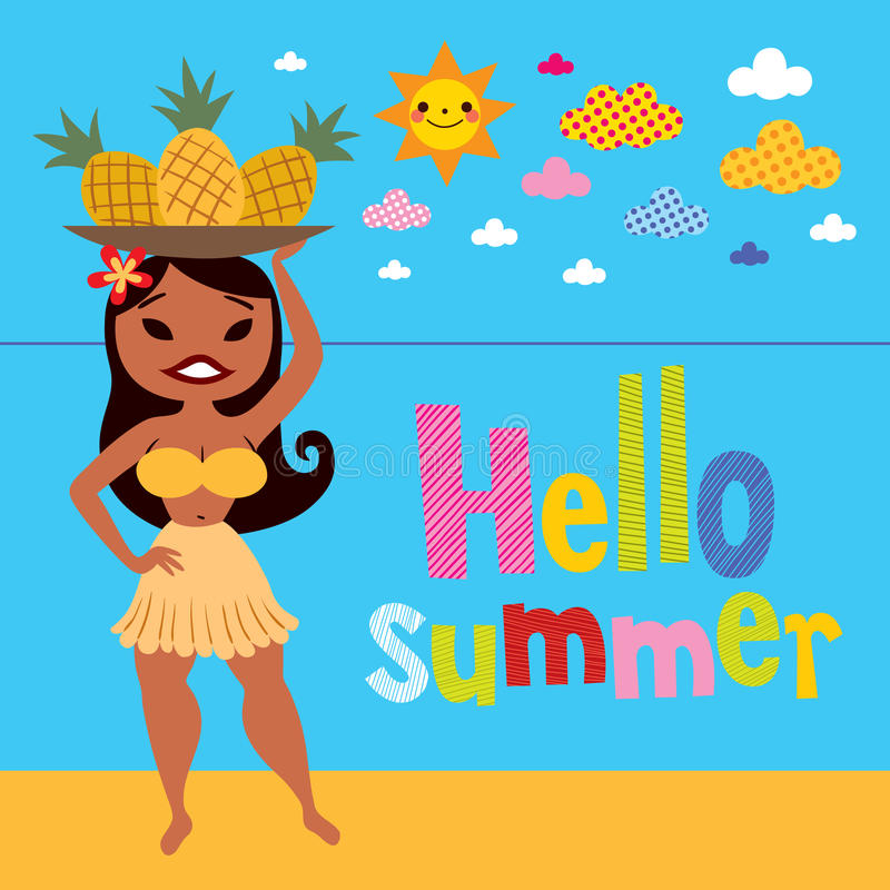 Bonjour fille de danse polynésienne d'ananas d'été sur la plage illustration libre de droits