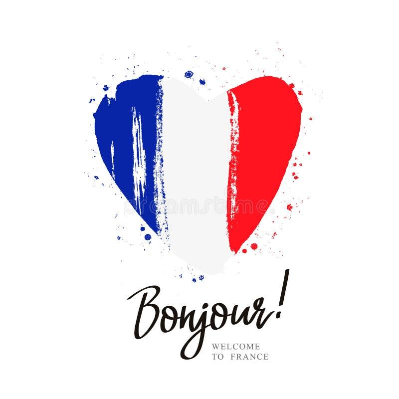 bonjour Flaga Francja w dużym sercu ilustracji