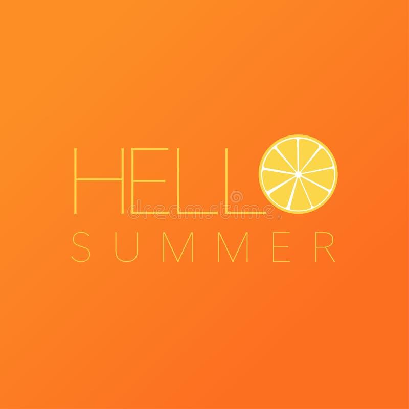 Bonjour fond orange de citron de carte postale d'été illustration libre de droits