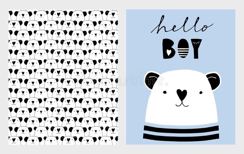Bonjour garçon Illustrations tirées par la main mignonnes de vecteur de fête de naissance réglées Conception infantile bleue, bla illustration stock