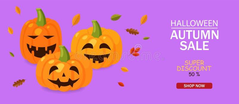 Bonjour halloween, grande émotion de citrouille illustration stock