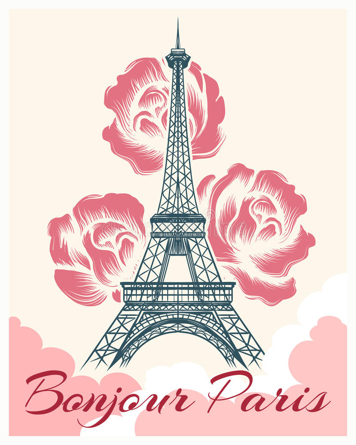 Bonjour or hello Paris retro poster. French spring and summer vector illustration with eiffel tower and flowers for girls fashion design stock illustration