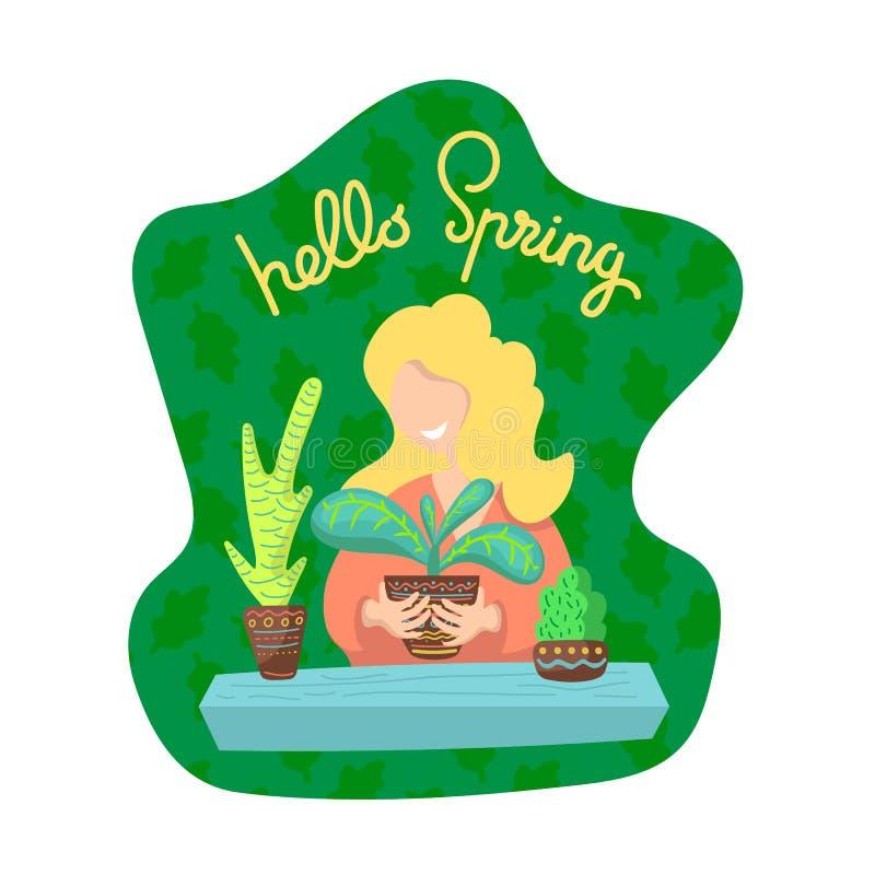 Bonjour illustration de vecteur de ressort avec la femme et les usines Fille de sourire avec des plantes d'intérieur Fleurs mises illustration de vecteur