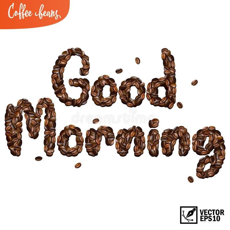 Bonjour inscription composé des grains de café 3d réalistes illustration stock