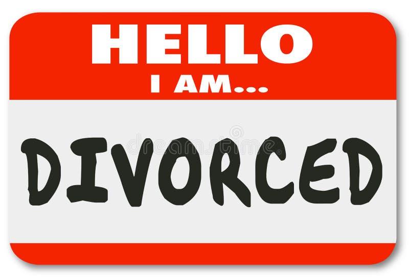 Bonjour je suis divorcé ai séparé le Nametag fini par mariage illustration libre de droits