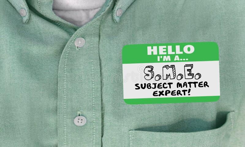 Bonjour je suis la chemise experte d'étiquette de nom de thèmes de PME photographie stock libre de droits