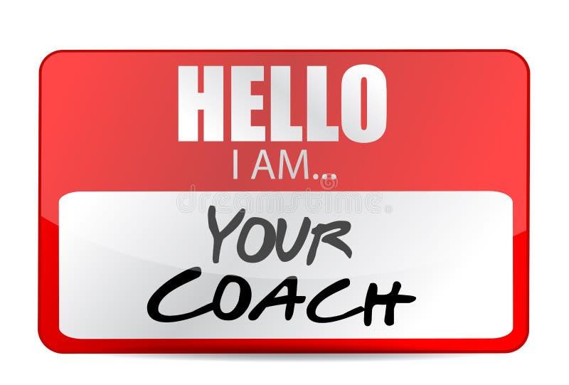 Bonjour je suis votre conception d'illustration d'étiquette d'entraîneur illustration de vecteur