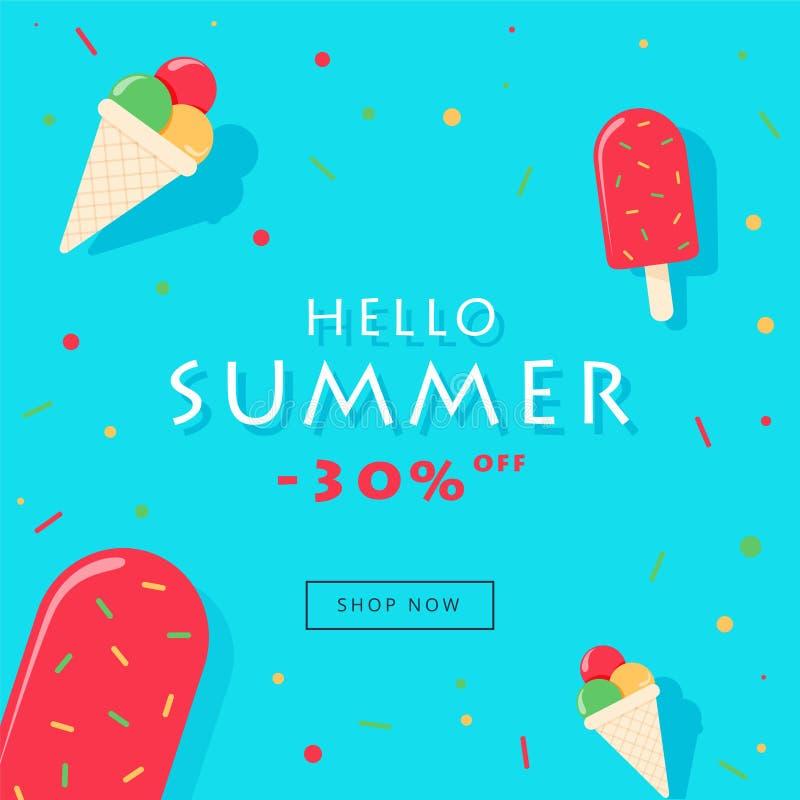 Bonjour l'illustration de carte de vente d'été, glace à l'eau avec l'arc-en-ciel arrose sur le fond bleu illustration stock