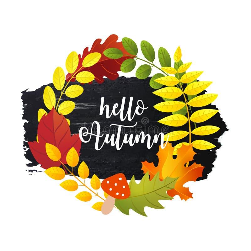 Bonjour la carte de voeux d'automne avec des feuilles d'automne tressent et course tirée par la main de brosse illustration libre de droits