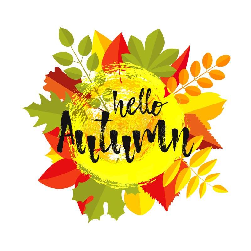 BONJOUR la conception de calibre de carte de voeux d'AUTOMNE avec l'automne laisse le style plat Autumn Lettering illustration stock