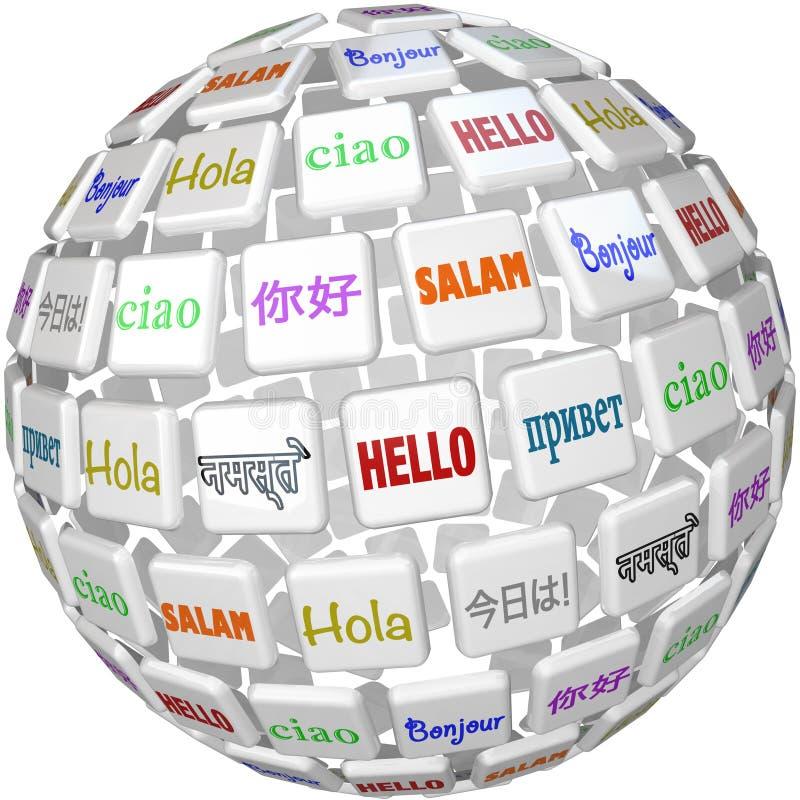 Bonjour la sphère Word couvre de tuiles les cultures globales de langues illustration de vecteur