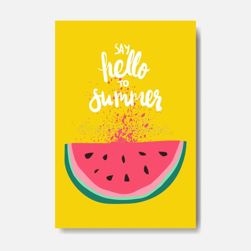 Bonjour label typographique de conception d'isolement par insigne de pastèque d'été Vacances de saison marquant avec des lettres  illustration de vecteur