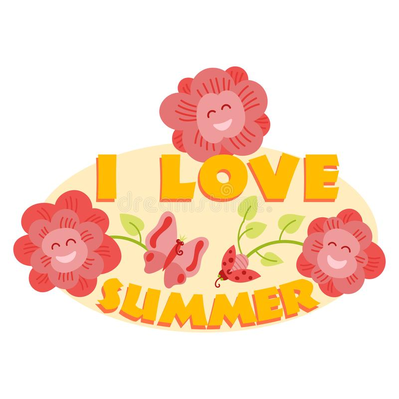 Bonjour le logo typographique d'été se connectent avec le fond Usines de mer, soleil, mer de plage et illustration de vecteur de  illustration stock