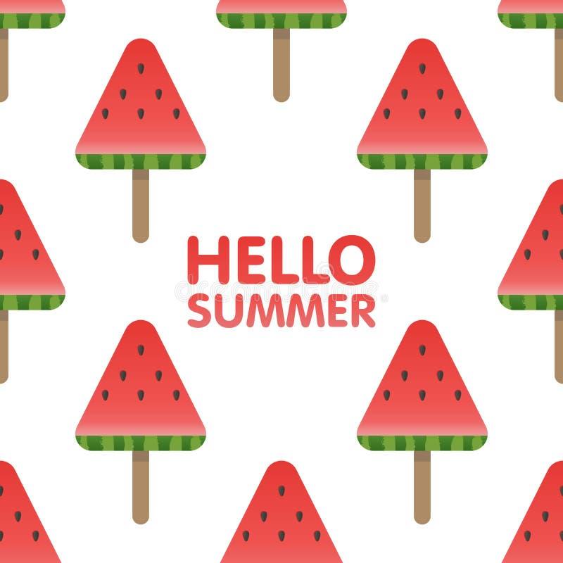 Bonjour les lettres d'été en pastèque sans couture modèlent l'illustration de fond illustration libre de droits
