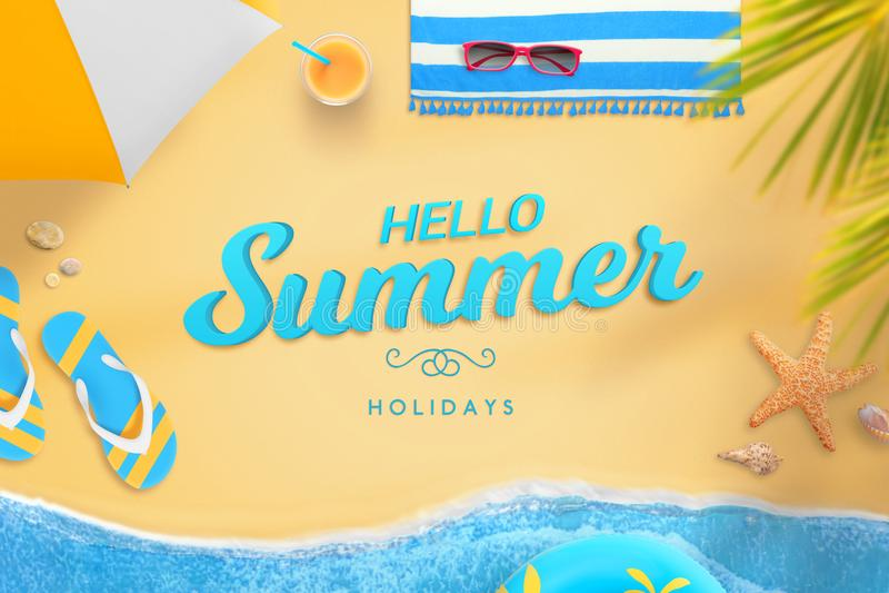 Bonjour les vacances d'été textotent sur la scène de plage de vue supérieure avec le sable et la mer ondule illustration stock
